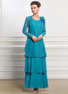 Vestidos princesa/ Formato A Decote redondo Longuete De chiffon Vestido para a mãe da noiva