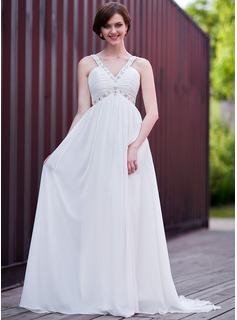 Empire V-neck Sweep Train Chiffon Wedding Dress With Ruffle Beading