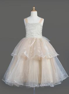 A-Line/Princess Square Neckline Tea-Length Organza Flower Girl Dress With Bow(s) Cascading Ruffles