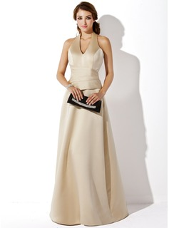 A-Line/Princess Halter Floor-Length Satin Bridesmaid Dress