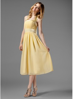 A-Line/Princess Halter Tea-Length Chiffon Charmeuse Bridesmaid Dress With Ruffle Bow(s)