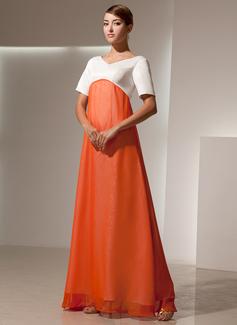 Empire V-neck Floor-Length Chiffon Satin Bridesmaid Dress