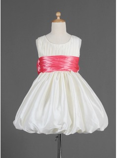 Empire Scoop Neck Knee-Length Taffeta Flower Girl Dress With Ruffle Sash Bow(s)