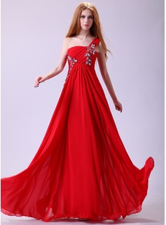 A-Line/Princess One-Shoulder Floor-Length Chiffon Prom Dress With Ruffle Beading Appliques