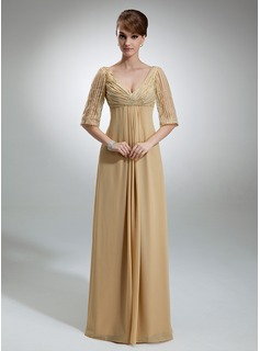 Empire V-neck Floor-Length Chiffon Mother of the Bride Dress With Ruffle Sequins