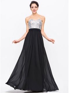 A-Line/Princess Sweetheart Floor-Length Chiffon Charmeuse Sequined Prom Dress With Beading