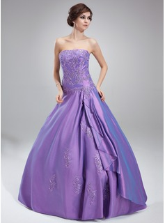 Ball-Gown Strapless Floor-Length Taffeta Quinceanera Dress With Beading Appliques Lace Cascading Ruffles