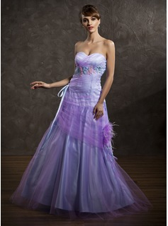 A-Line/Princess Sweetheart Floor-Length Tulle Holiday Dress With Ruffle Feather Appliques