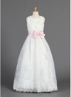 A-Line/Princess Scoop Neck Floor-Length Organza Satin Flower Girl Dress With Lace Sash Beading Bow(s)