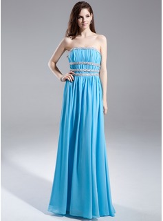 A-Line/Princess Strapless Floor-Length Chiffon Prom Dress With Ruffle Sash Beading