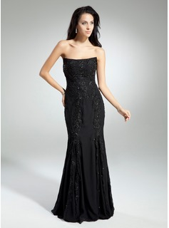 Sheath Strapless Floor-Length Chiffon Prom Dress With Lace Beading