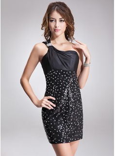 Sheath/Column One-Shoulder Short/Mini Charmeuse Sequined Cocktail Dress With Ruffle Beading