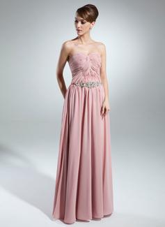 Linia A/Księżniczka Kochanie Do Podłogi Chiffon Suknia dla Mamy Panny Młodej Z Żabot Perełki