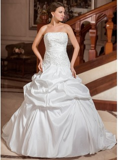 Ball-Gown Strapless Court Train Taffeta Wedding Dress With Embroidery Ruffle Beading
