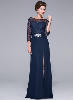 A-Line/Princess Off-the-Shoulder Floor-Length Chiffon Tulle Mother of the Bride Dress With Beading Sequins