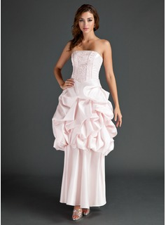 A-Line/Princess Strapless Ankle-Length Satin Prom Dress With Beading