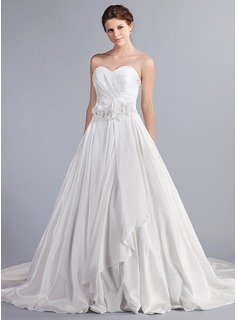 Ball-Gown Sweetheart Cathedral Train Taffeta Wedding Dress With Ruffle Flower(s) Bow(s)