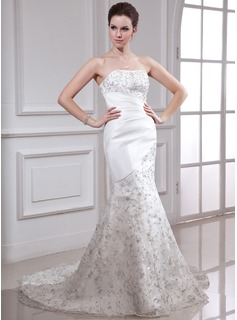 Mermaid Strapless Court Train Organza Satin Wedding Dress With Embroidery Beadwork Sequins