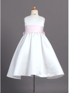 A-Line/Princess Scoop Neck Ankle-Length Satin Flower Girl Dress With Sash