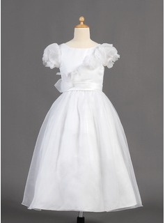 A-Line/Princess Ankle-length Flower Girl Dress - Organza/Charmeuse Short Sleeves Scoop Neck With Bow(s)
