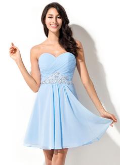 A-Line/Princess Sweetheart Short/Mini Chiffon Homecoming Dress With Ruffle Beading Sequins