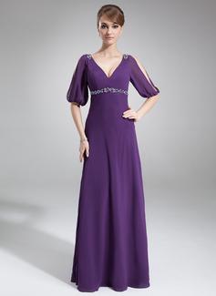Imperialna Dekolt w Serek Do Podłogi Chiffon Suknia dla Mamy Panny Młodej Z Perełki