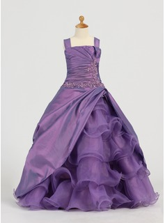 A-Line/Princess Square Neckline Floor-Length Taffeta Organza Flower Girl Dress With Ruffle Lace Beading Sequins