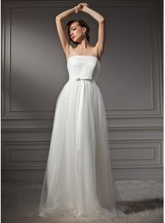 A-Line/Princess Strapless Sweep Train Satin Tulle Wedding Dress With Ruffle Bow(s)