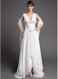 Corte A/Princesa Escote en V Asimétrico Chifón Vestido de madrina con Encaje Bordado Lentejuelas Cascada de volantes