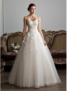 Ball-Gown Sweetheart Floor-Length Tulle Charmeuse Wedding Dress With Ruffle Sash Beadwork Appliques Flower(s)