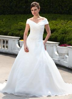 Balklänning Off-shoulder Ringning Court släp Organzapåse Bröllopsklänning med Rufsar Pärlbrodering