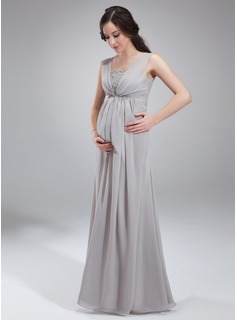 Empire Square Neckline Floor-Length Chiffon Maternity Bridesmaid Dress With Ruffle Beading Sequins