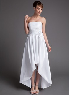 A-Line/Princess Strapless Asymmetrical Taffeta Wedding Dress With Ruffle Flower(s)