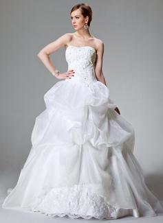 De baile Coração Cauda longa Cetim Organza de Vestido de noiva com Renda Bordado