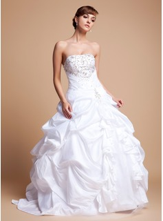 Ball-Gown Strapless Floor-Length Taffeta Tulle Wedding Dress With Embroidery Ruffle Beadwork Sequins (002012718)