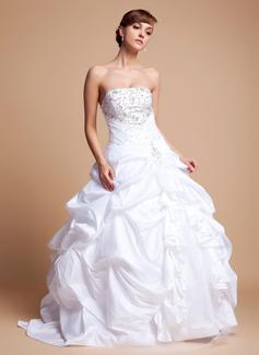De baile Sem Alças Chá comprimento Tafetá Tule Vestido de noiva com Bordados Pregueado Bordado Lantejoulas