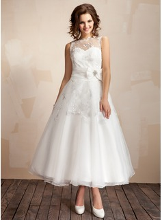 A-Line/Princess Scoop Neck Ankle-Length Taffeta Organza Wedding Dress With Ruffle Lace Crystal Brooch