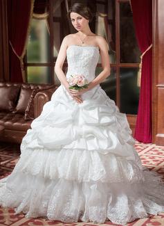 Palloncino A cuore Coda a strascico cappella Taffettà Abiti da sposa con Increspature Pizzo Perline