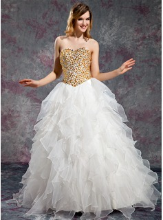 Ball-Gown Sweetheart Floor-Length Organza Prom Dress With Beading Cascading Ruffles