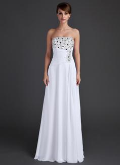 A-Linie/Princess-Linie Trägerlos Bodenlang Chiffon Abendkleid mit Rüschen Perlen verziert Pailletten