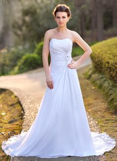 A-linjeformat Hjärtformad Court släp Chiffong Satäng Bröllopsklänning med Rufsar Pärlbrodering Applikationer Spetsar Paljetter