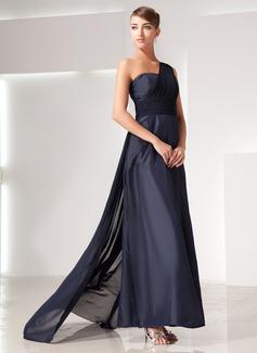 Çan/Prenses Tek-Omuzlu Watteau Kuyruk Chiffon Taffeta Gece Elbisesi Ile Büzgü