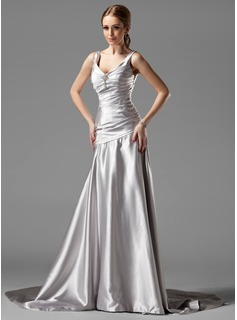 A-Line/Princess V-neck Court Train Charmeuse Evening Dress With Ruffle Crystal Brooch