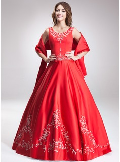 Ball-Gown Scoop Neck Floor-Length Satin Quinceanera Dress With Embroidered Beading