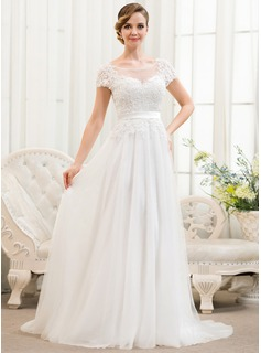 A-Line/Princess Scoop Neck Sweep Train Tulle Charmeuse Lace Wedding Dress With Beading Sequins