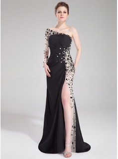 Trumpet/Mermaid One-Shoulder Sweep Train Chiffon Prom Dress With Ruffle Beading Split Front