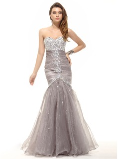 Trumpet/Mermaid Sweetheart Floor-Length Organza Prom Dress With Ruffle Beading