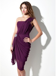 Sheath/Column One-Shoulder Asymmetrical Chiffon Cocktail Dress With Beading Cascading Ruffles