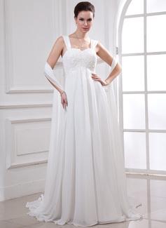 Väldet Hjärtformad Watteau släp Chiffong Bröllopsklänning med Spetsar Pärlbrodering