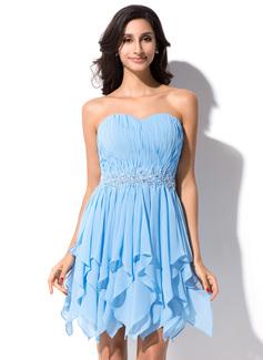 A-Line/Princess Sweetheart Asymmetrical Chiffon Homecoming Dress With Beading Sequins Cascading Ruffles